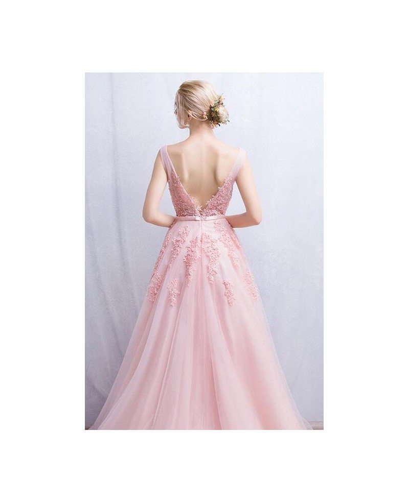 Romantic tulle wedding or prom dress a line v neck floor for Tulle a line wedding dress