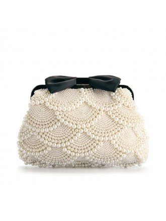 Lovely Satin Pearl Clutches with Bowknot Style