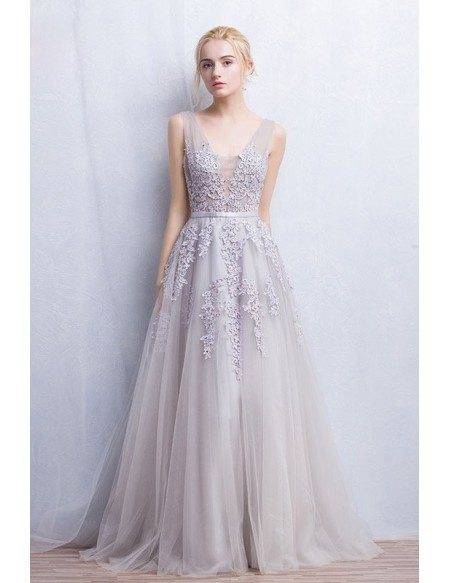 Romantic tulle wedding or prom dress a line v neck floor length grace love romantic a line v neck floor length tulle wedding dress with appliques lace junglespirit Images