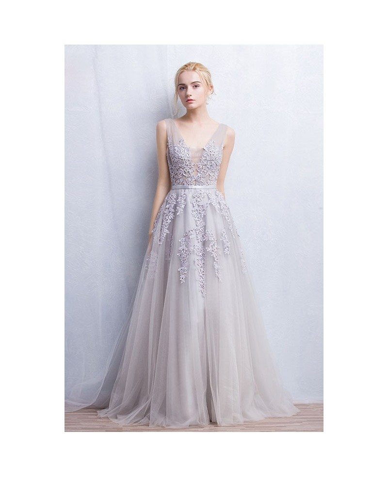 Romantic tulle wedding or prom dress a line v neck floor for Shop online wedding dresses