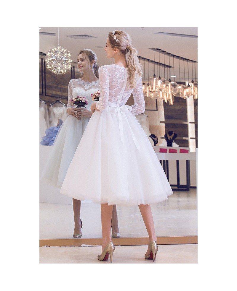 Vintage A Line Wedding Dresses: Vintage Tea-Length Wedding Dress A-Line Scoop Neck Tulle