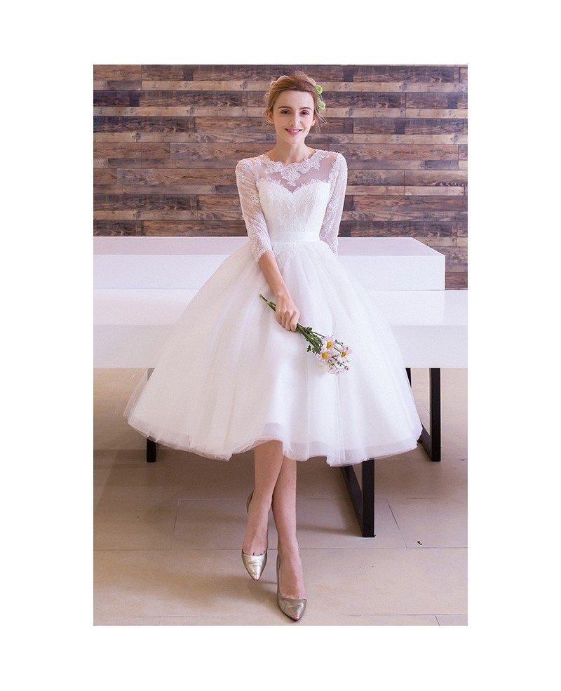 Vintage Tea Length Wedding Dress A Line Scoop Neck Tulle