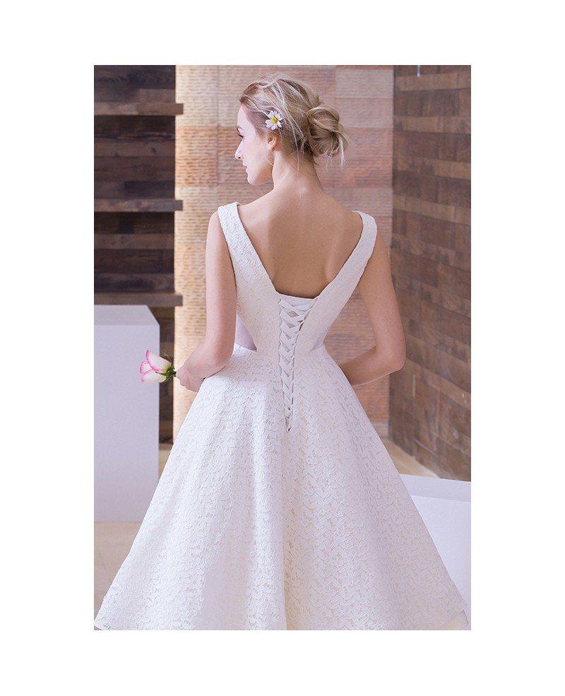 Vintage A Line Wedding Dresses: A Line Backless Tea Length Wedding Dresses Retro Lace 2017
