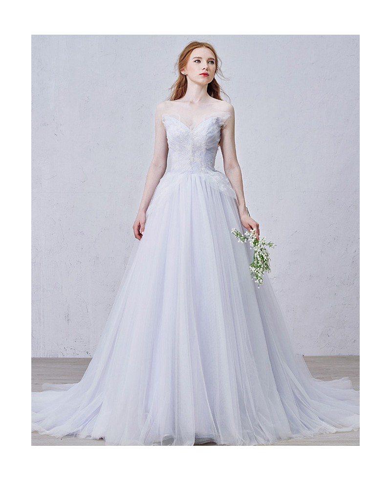 Romantic a line v neck court train tulle wedding dress for Dresses for court wedding
