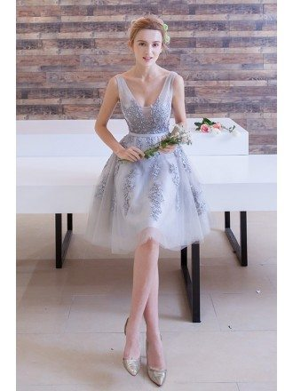 Stylish A-Line V-neck Short Tulle Dress With Appliques Lace