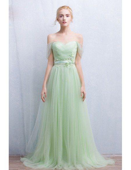 Romantic a line off the shoulder floor length tulle for Off the shoulder tulle wedding dress