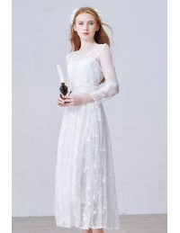 Romantic A-Line Scoop Neck Ankle-Length Tulle Wedding Dress With ...