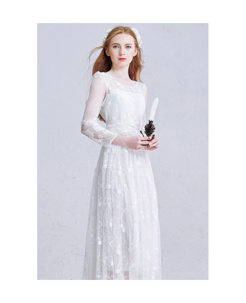 Romantic a line scoop neck ankle length tulle wedding for Lace ankle length wedding dress