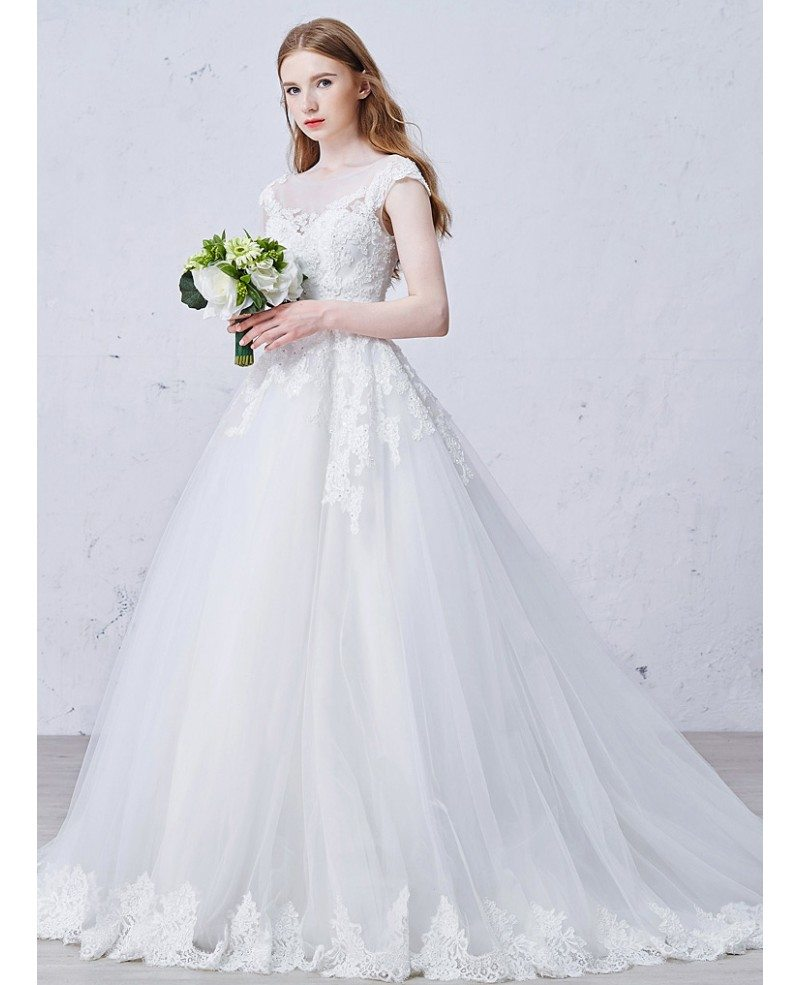 romantic wedding dresses gown scoop neck sweep tulle wedding 7107