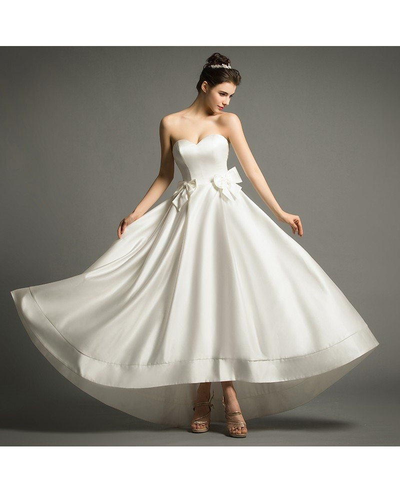 Vintage A-Line Sweetheart Tea-ength Satin Wedding Dress