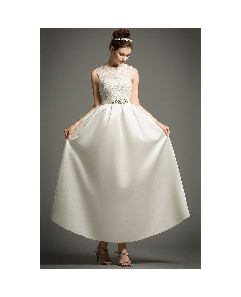 Simple Ankle Length Lace Wedding Dresses White Three: Simple A-Line Scoop Neck Ankle-Length Satin Wedding Dress