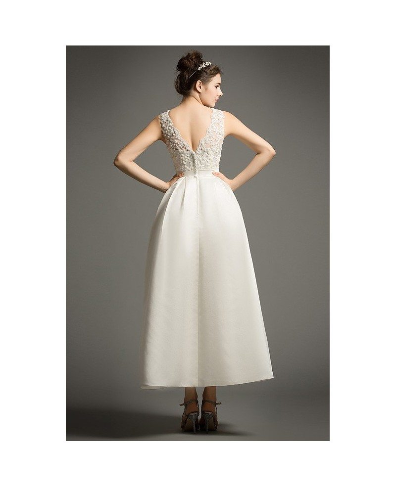 Simple a line scoop neck ankle length satin wedding dress for Lace ankle length wedding dress
