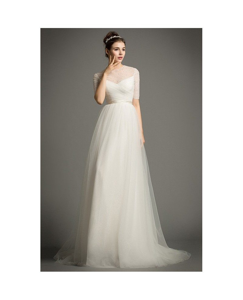 Flowy Beach Wedding Dress Empire Scoop Neck Floor-Length Tulle with ...