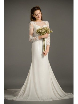 Elegant Mermaid Scoop Neck Sweep Train Chiffon Wedding Dress With Appliques Lace