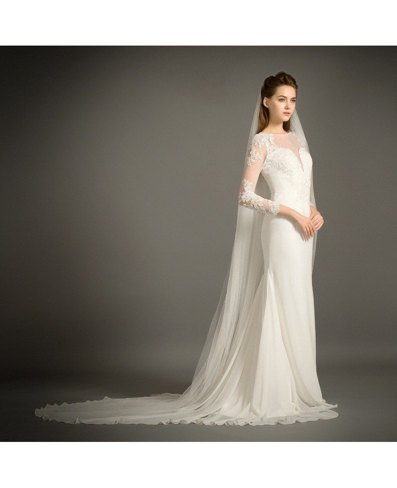 elegant mermaid scoop neck sweep train chiffon wedding dress with appliques lace  tz004  237