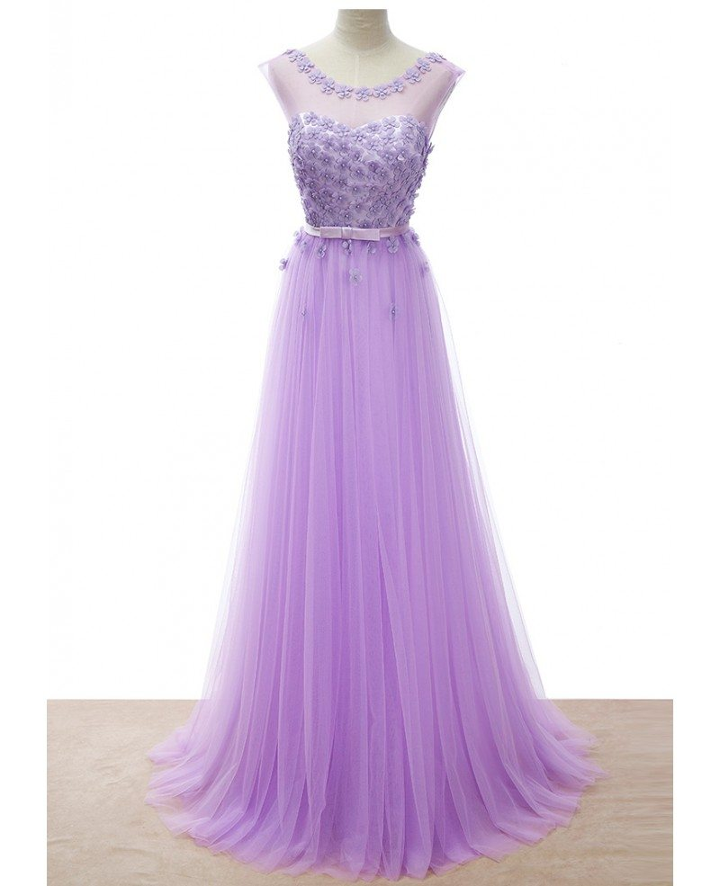 Romantic A Line Scoop Neck Floor Length Tulle Wedding Dress With Flowers TY009 172