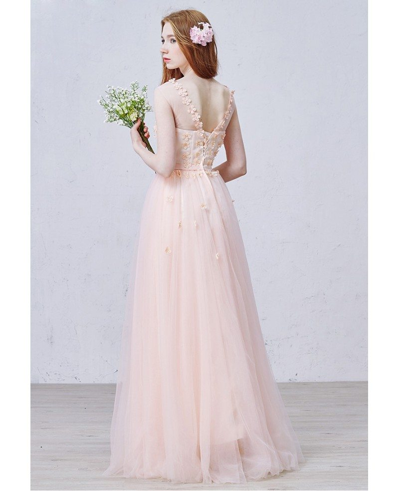 Ultra Romantic Floral Wedding Dresses: Romantic A-Line Scoop Neck Floor-Length Tulle Wedding