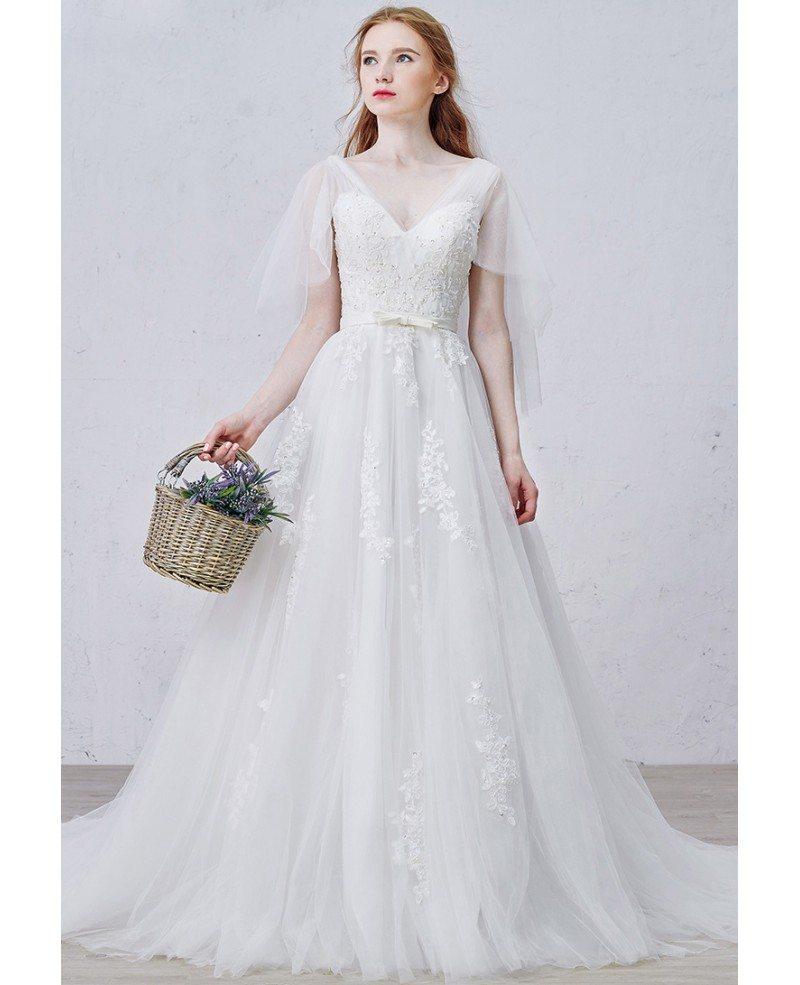 Graceful a line v neck sweep train tulle wedding dress for V neck a line wedding dresses