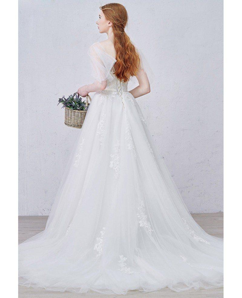 Wedding Dress Train: Graceful A-Line V-neck Sweep Train Tulle Wedding Dress