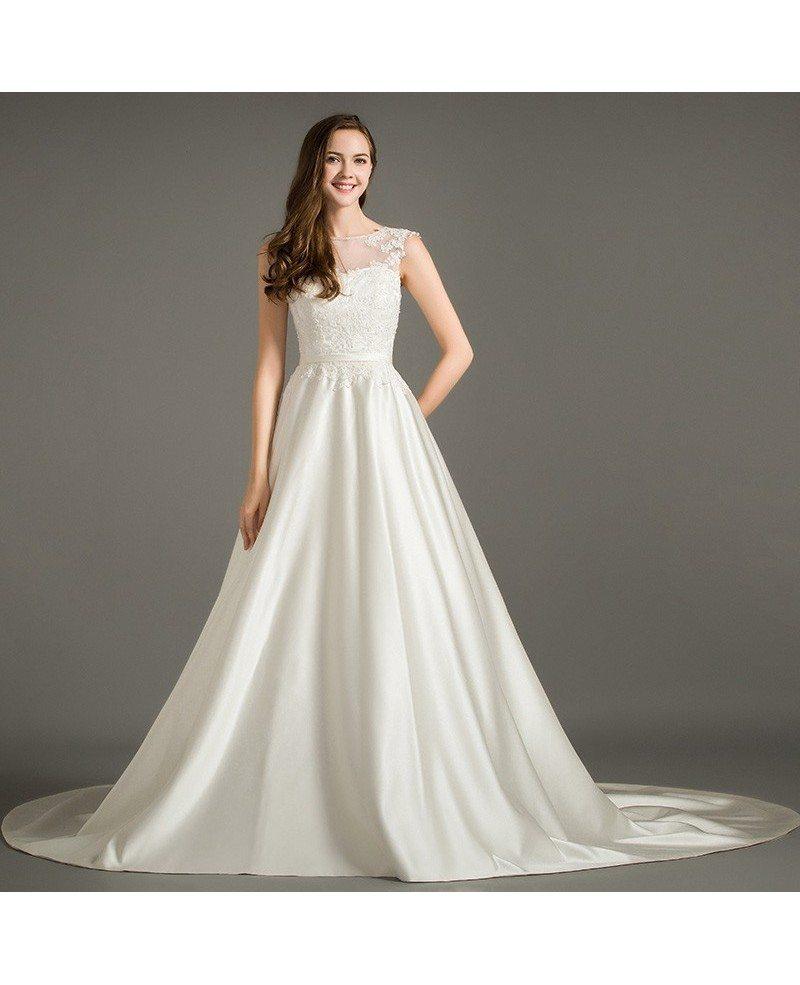 Elegant A Line Scoop Neck Court Train Satin Wedding Dress
