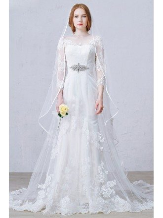 Elegant A-Line Scoop Neck Sweep Train Tulle Wedding Dress With Appliques Lace