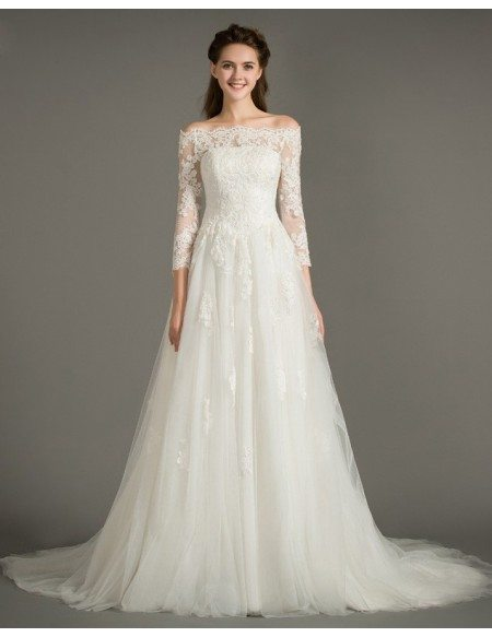 Dereamy A-Line Off-the-Shoulder Court Train Tulle Wedding Dress With Appliques Lace