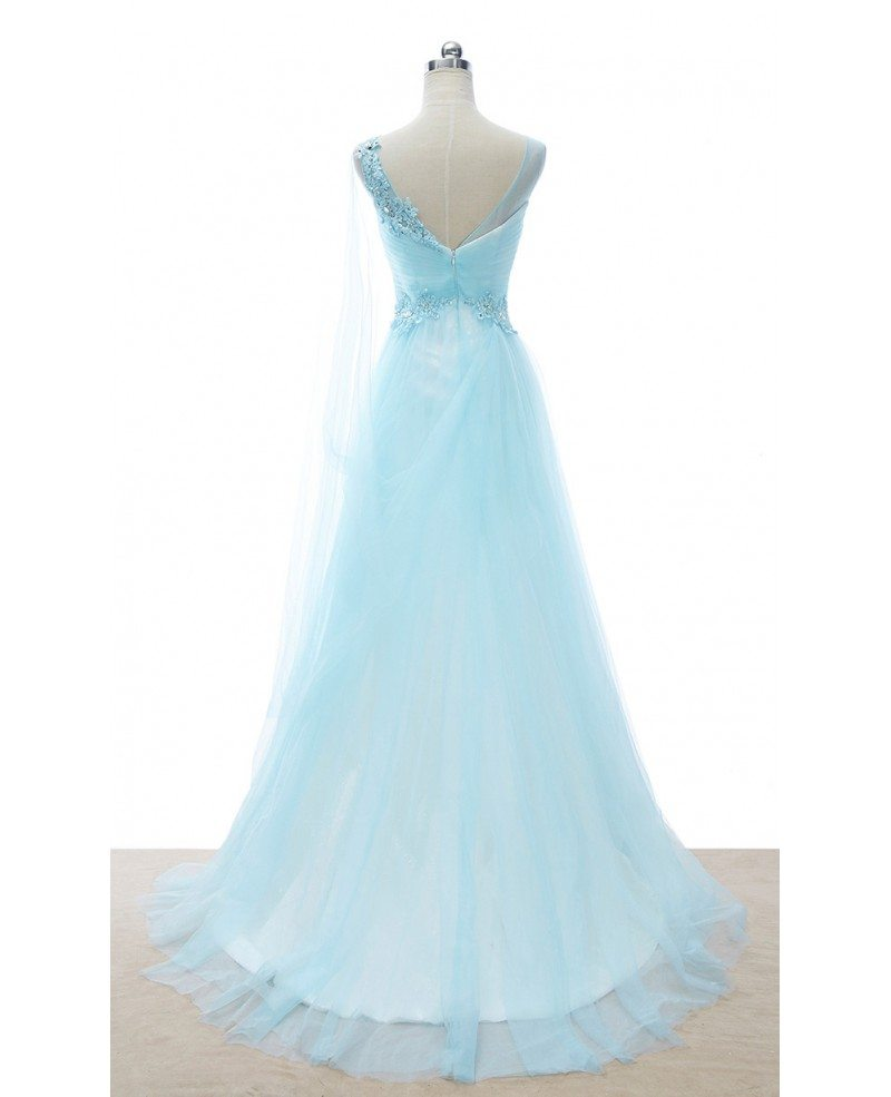 Romantic a line v neck sweep train tulle wedding dress for Tulle a line wedding dress