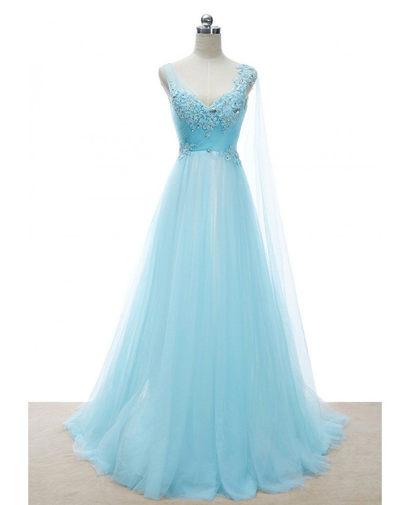 Romantic a line v neck sweep train tulle wedding dress for V neck a line wedding dresses
