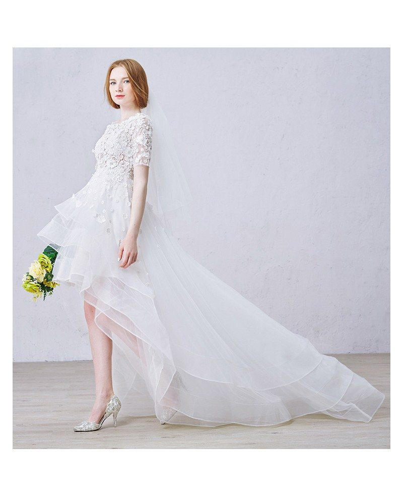 boho high low wedding dresses with sleeves stylish a