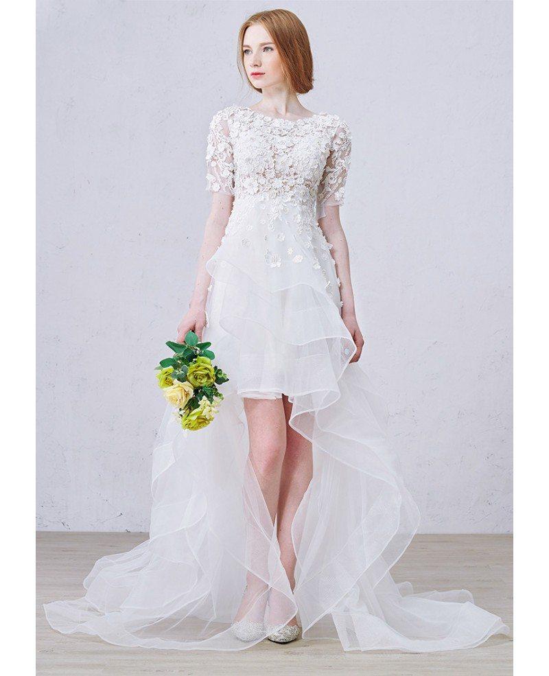 Boho High Low Wedding Dresses With Sleeves Stylish A-Line ...