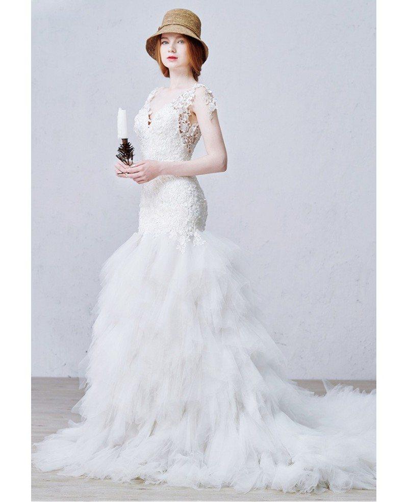 Tulle Overskirt Wedding Dresses Mermaid Bateau Neck Simple: Sexy Mermaid V-neck Chapel Train Tulle Wedding Dress With