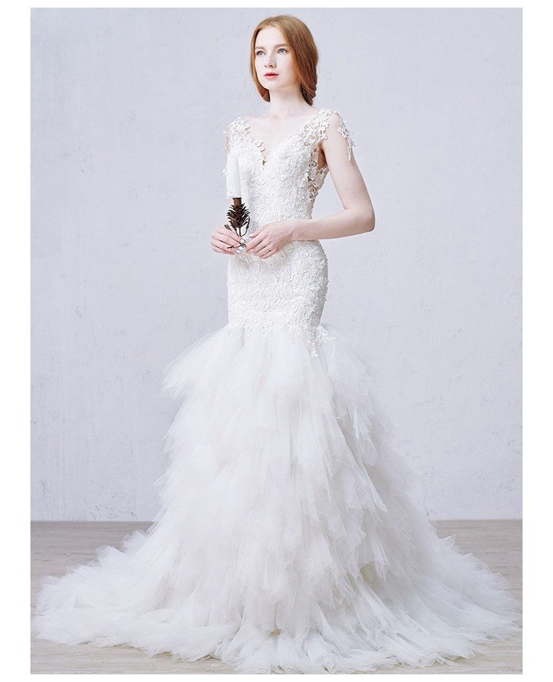 Tulle Overskirt Wedding Dresses Mermaid Bateau Neck Simple: Sexy Mermaid V-neck Chapel Train Tulle Wedding Dress With