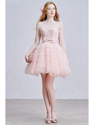 Cute A-Line Scoop Neck Short Tulle Dress With Bow