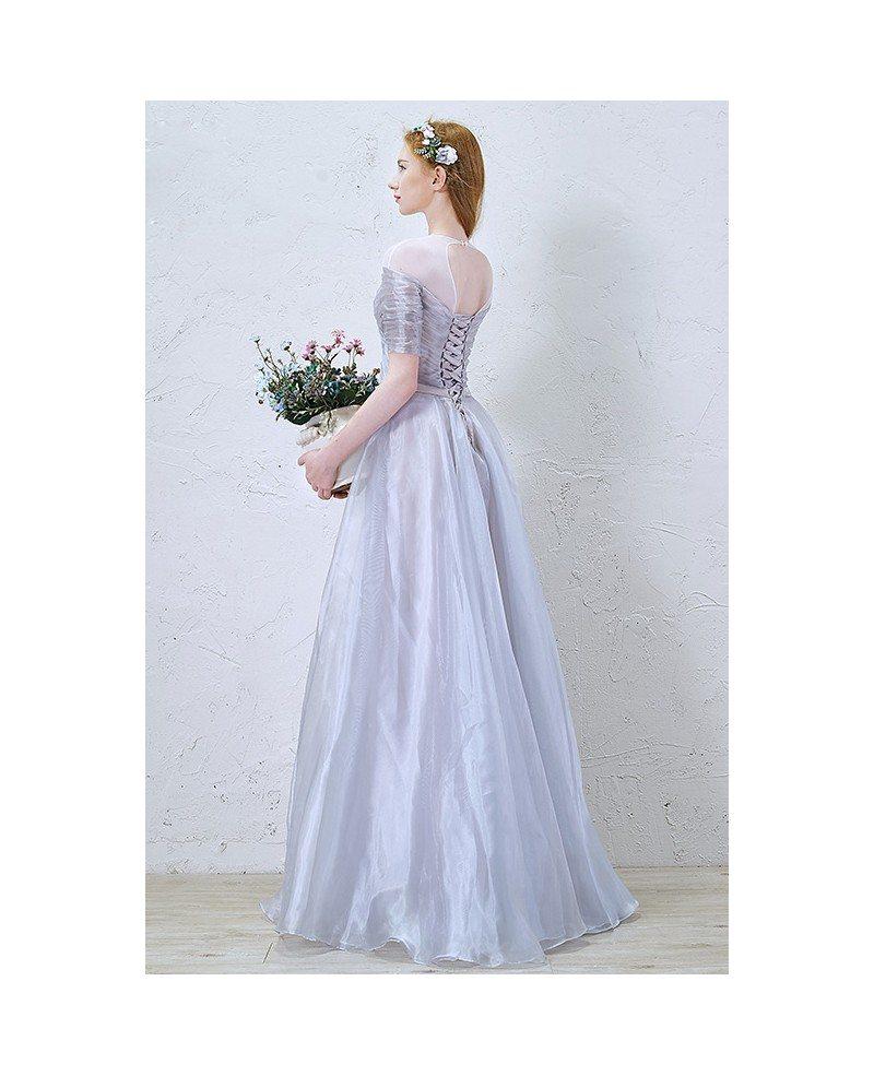 Elegant A Line Scoop Neck Floor Length Organza Wedding Dress With Ruffles TY022 168