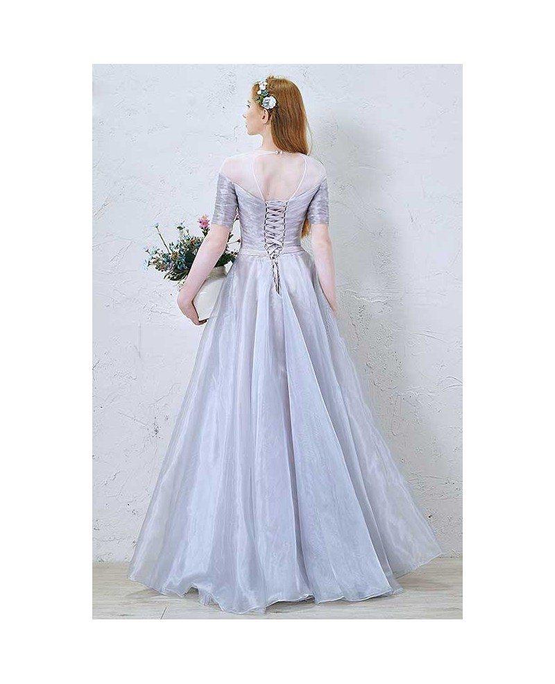 Simple Elegant Tulle A Line Scoop Neck Cap Sleeves Lace: Elegant A-Line Scoop Neck Floor-Length Organza Wedding
