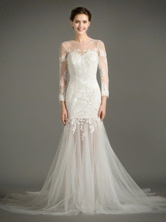 Stylish Mermaid Scoop Neck Court Train Tulle Wedding Dress With Appliques Lace