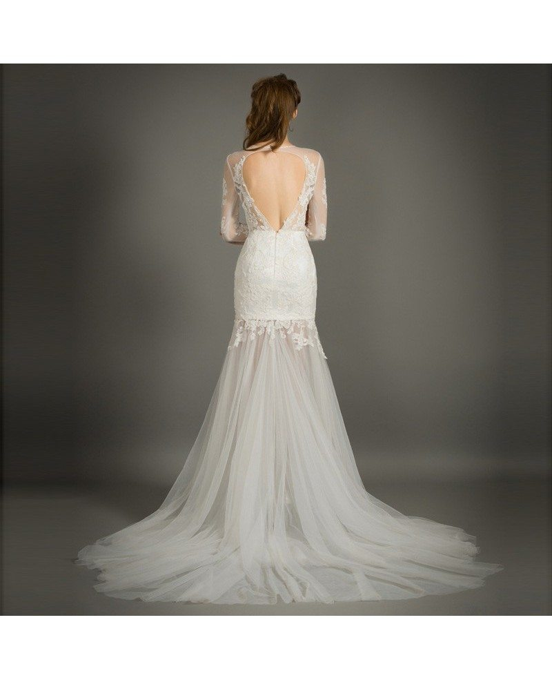 Tulle Overskirt Wedding Dresses Mermaid Bateau Neck Simple: Stylish Mermaid Scoop Neck Court Train Tulle Wedding Dress