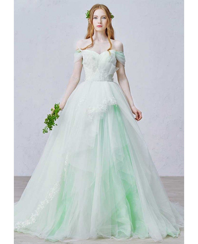 Adding Lace To Wedding Dress: Romantic Ball-Gown Off-the-Shoulder Court Train Tulle