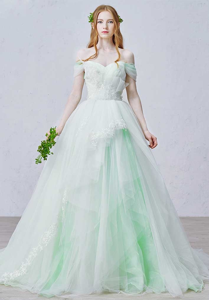 Romantic ball gown off the shoulder court train tulle for Wedding dress color meanings