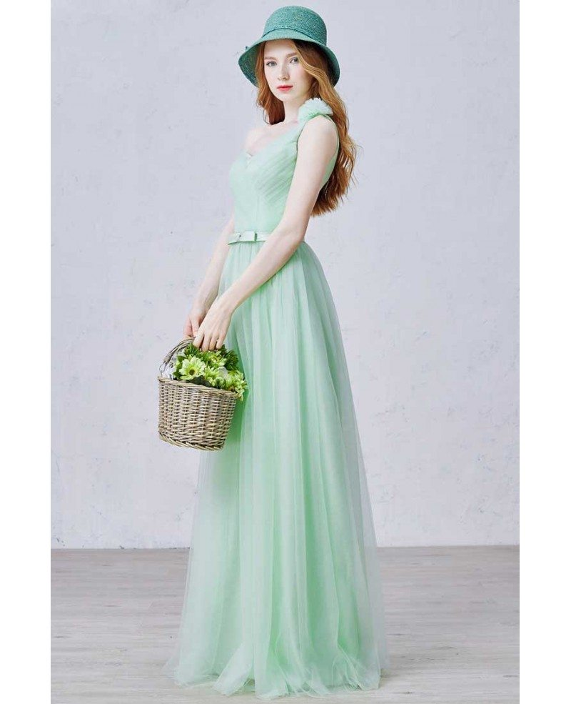 Stylish A Line One Shoulder Floor Length Tulle Bridesmaid