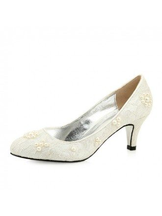 Lace Heel Closed Toe Pumps With Pearl Style