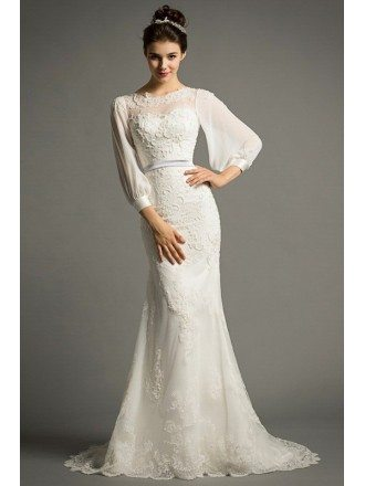 Elegant Mermaid Scoop Neck Sweep Train Tulle Wedding Dress With Appliques Lace