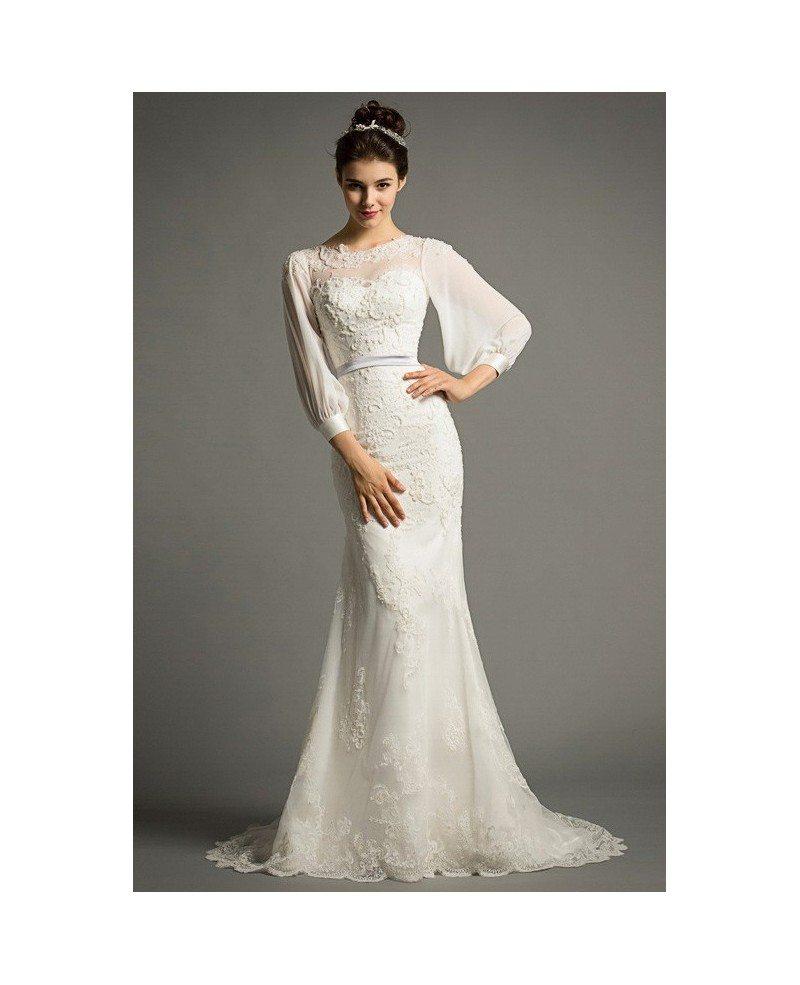 Tulle Overskirt Wedding Dresses Mermaid Bateau Neck Simple: Elegant Mermaid Scoop Neck Sweep Train Tulle Wedding Dress