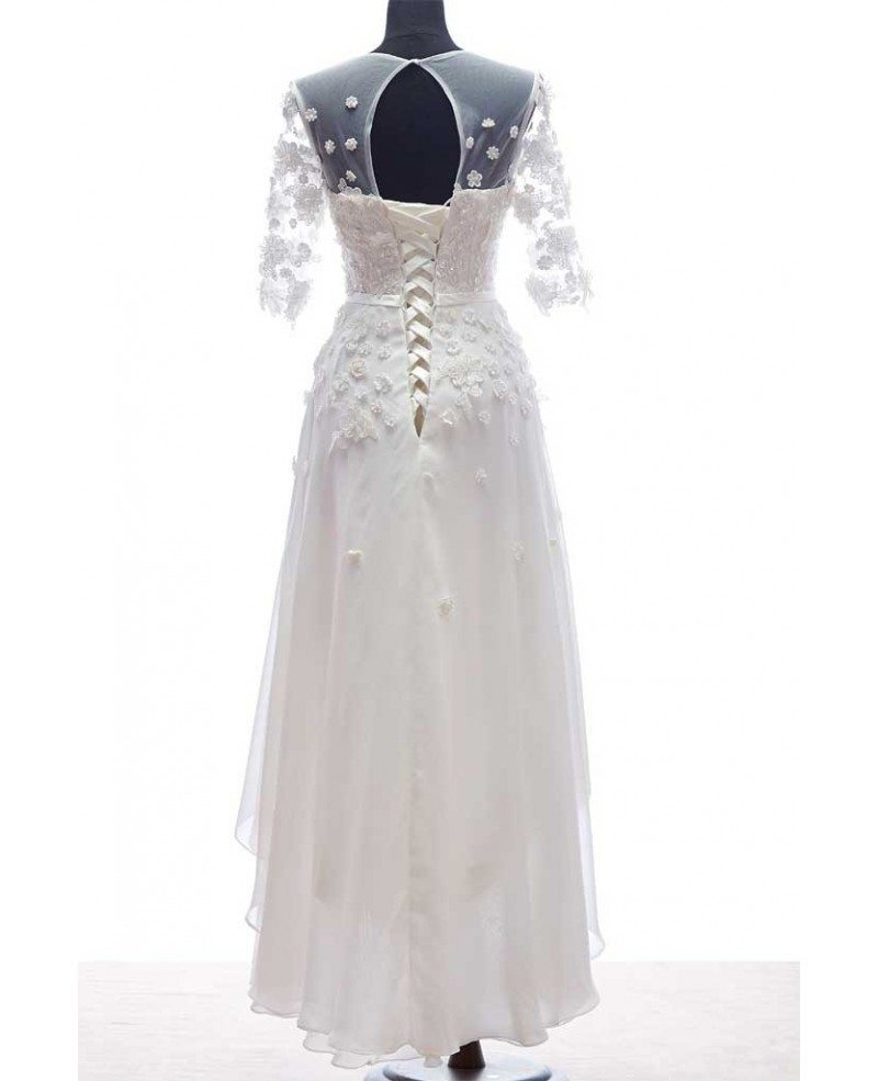 Simple Ankle Length Lace Wedding Dresses White Three: Modest A-Line Scoop Neck Ankle-Length Chiffon Wedding