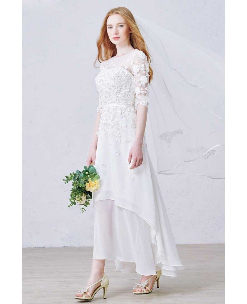 Modest a line scoop neck ankle length chiffon wedding for Lace ankle length wedding dress