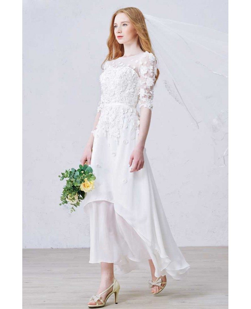 Modest a line scoop neck ankle length chiffon wedding for Modest a line wedding dresses