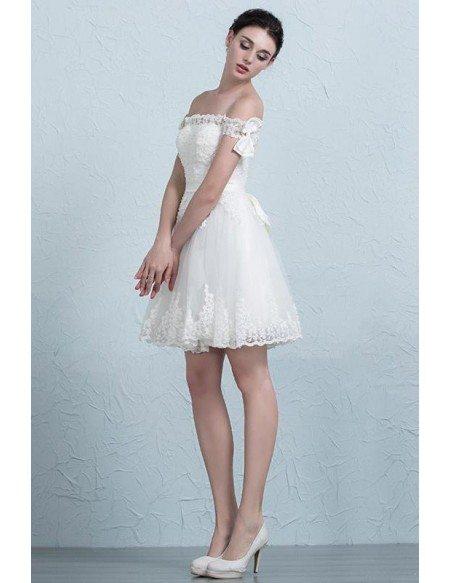 Off The Shoulder Short Wedding Dresses Reception Stylish A-Line ...