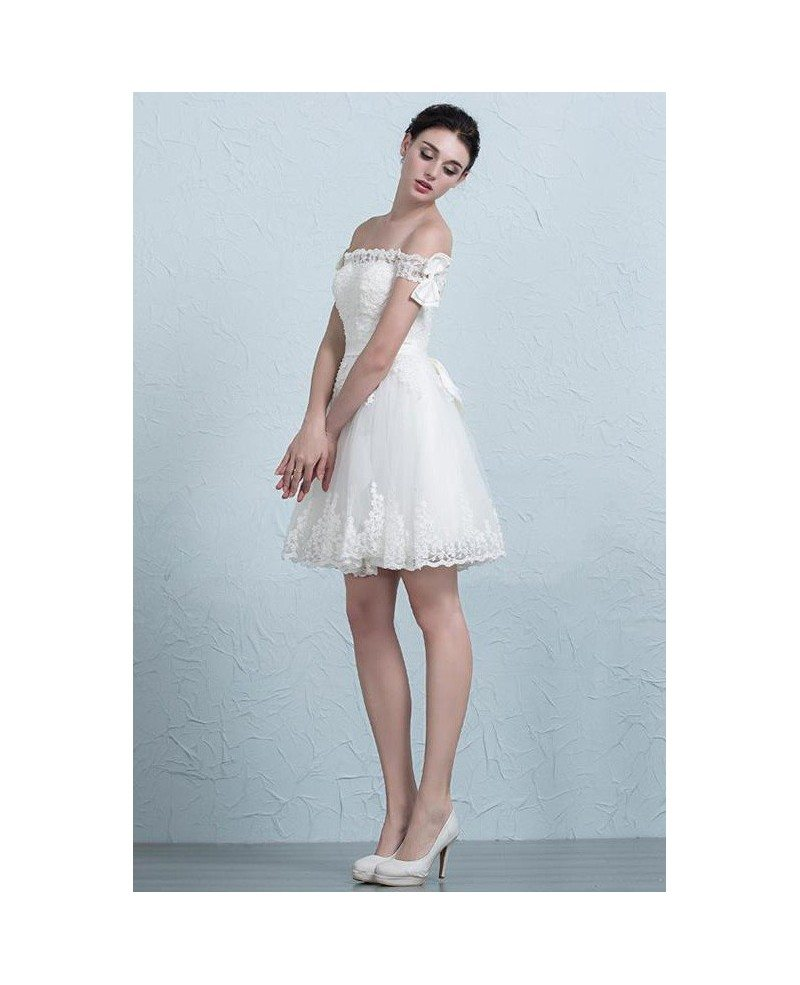 Stylish Wedding Gowns: Off The Shoulder Short Wedding Dresses Reception Stylish A