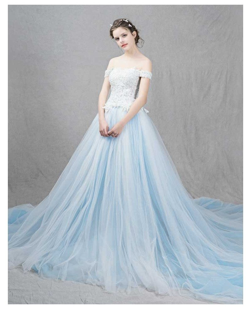 Romantic ball gown off the shoulder sweep train tulle for Sweep train wedding dress