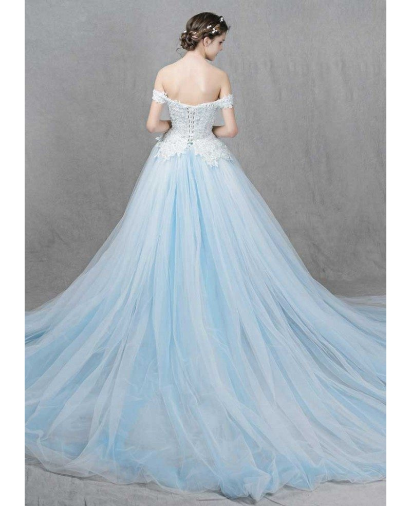 Romantic Ball-Gown Off-the-Shoulder Sweep Train Tulle Wedding Dress ...